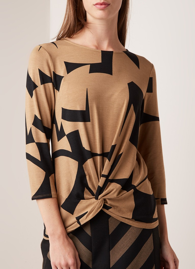 Phase Eight - Gretchen top met knoopdetail en dessin  - Camel