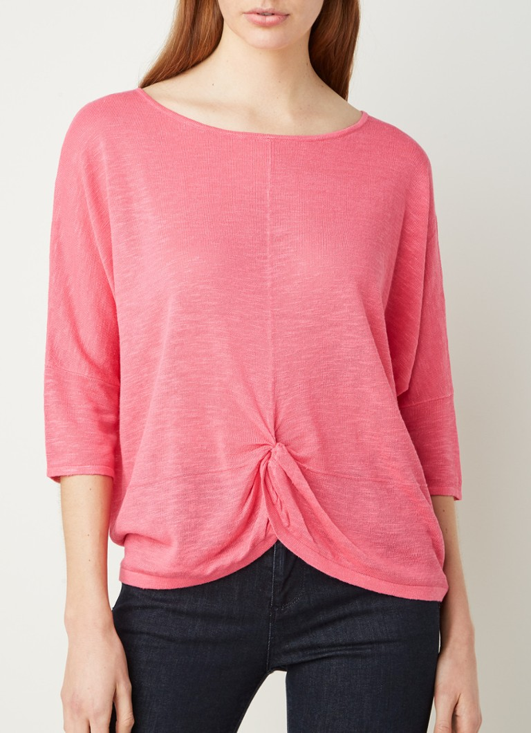 Phase Eight - Jenner pullover in linnenblend met knoopdetail - Roze