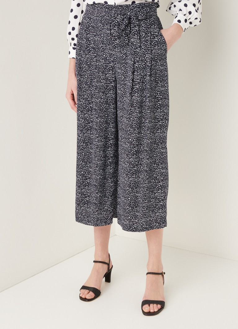 Phase Eight - Layla high waist wide fit culotte met strikceintuur - Donkerblauw