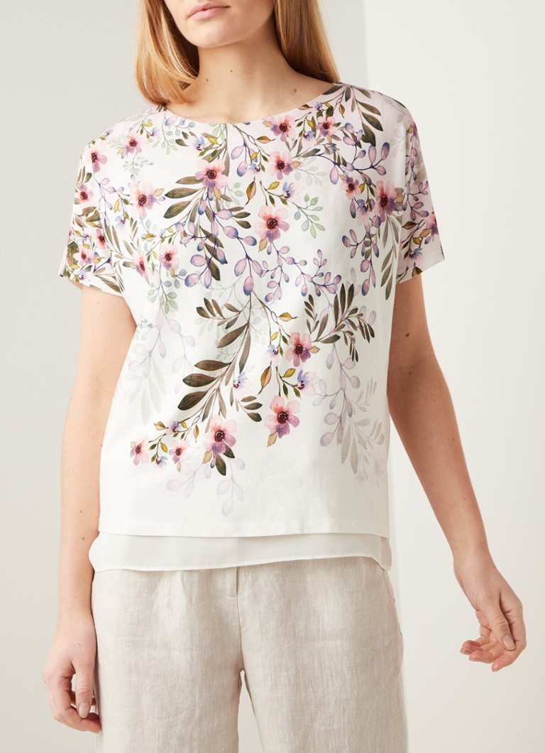 Phase Eight - Lillianna loose fit top met bloemenprint en underlay - Roze