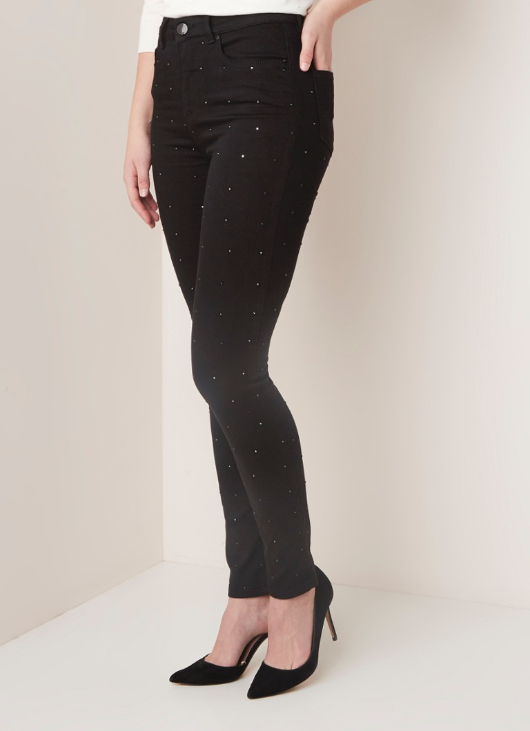 Phase Eight - Phase Eight lotta high waist skinny fit jeans met studs - Zwart