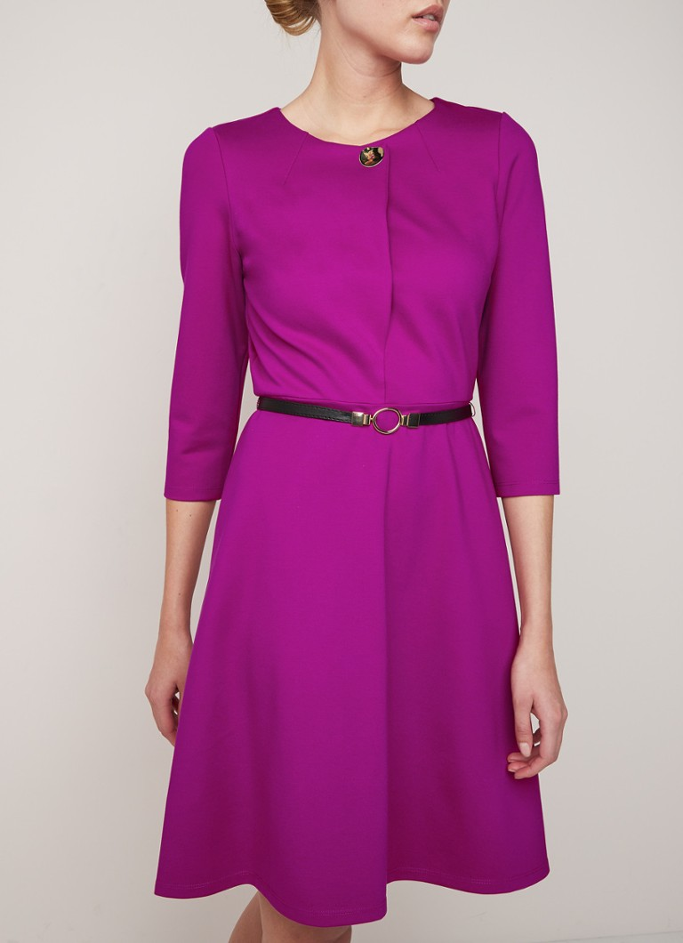 Phase Eight - Romina Swing midi-jurk met ceintuur - Fuchsia