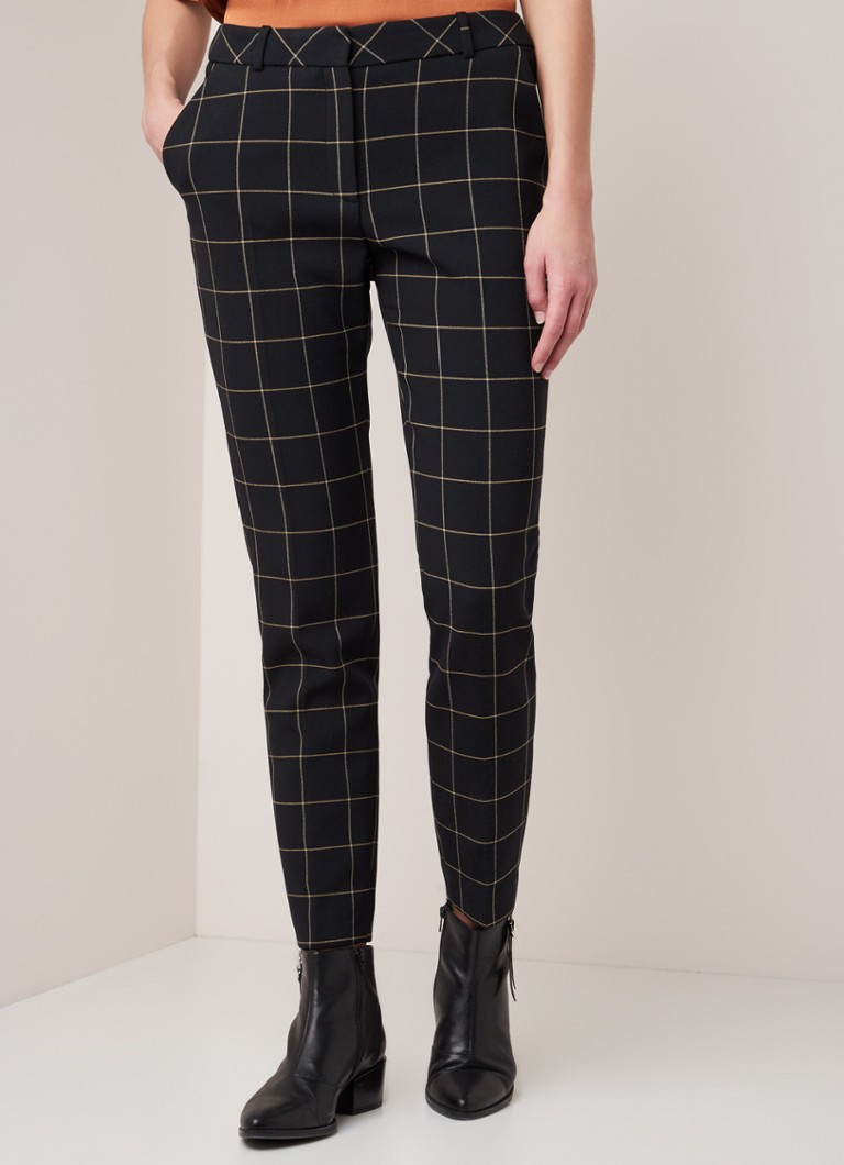 Phase Eight - Toni high waist slim fit cropped pantalon met ruitdessin - Zwart