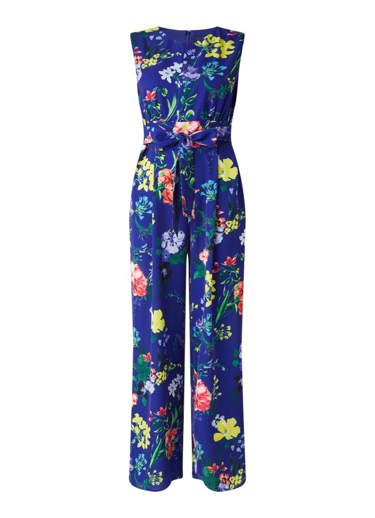Phase Eight - Trudy loose fit jumpsuit met bloemenprint - Kobaltblauw