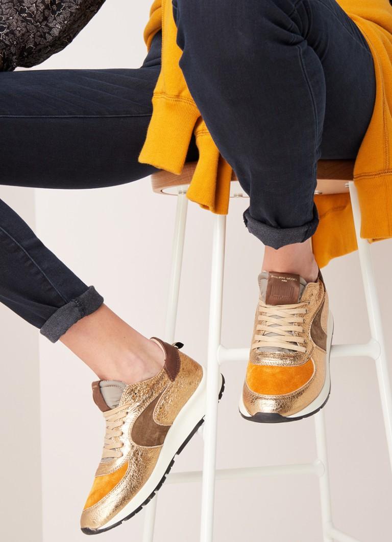 Philippe Model - Montecarlo sneaker van leer met suède details - Goud - voorkant