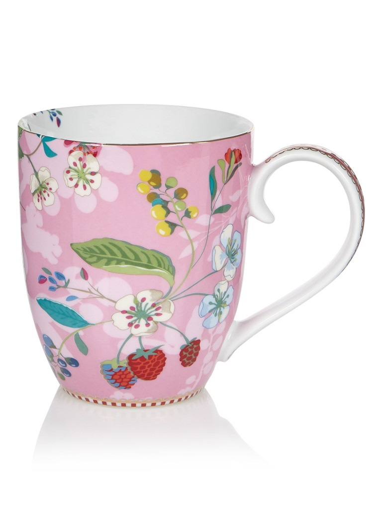 Pip Studio - Floral Hummingbirds mok 45 cl - Roze