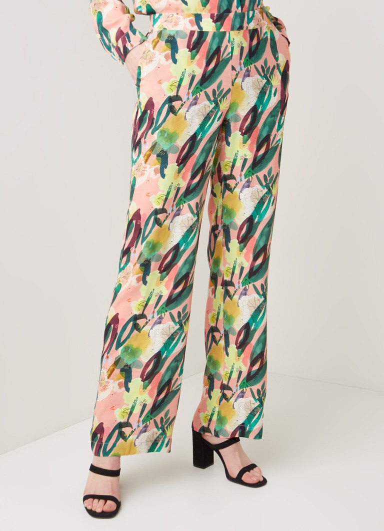 POM Amsterdam - Flower Play loose fit pantalon met bloemenprint - Zalmroze