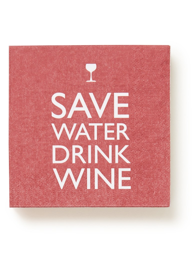 ppd - Save Water Drink Wine servetten 25 x 25 cm - Rood
