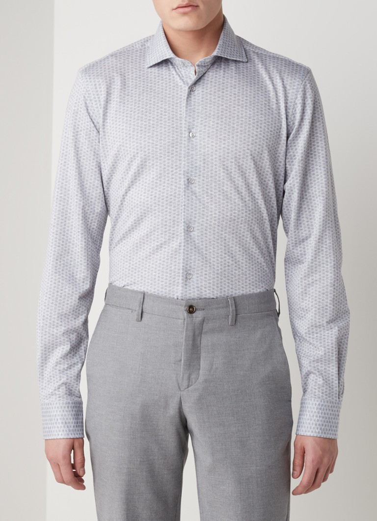 Profuomo - Knitted Shirt regular fit overhemd met stretch - Grijsmele