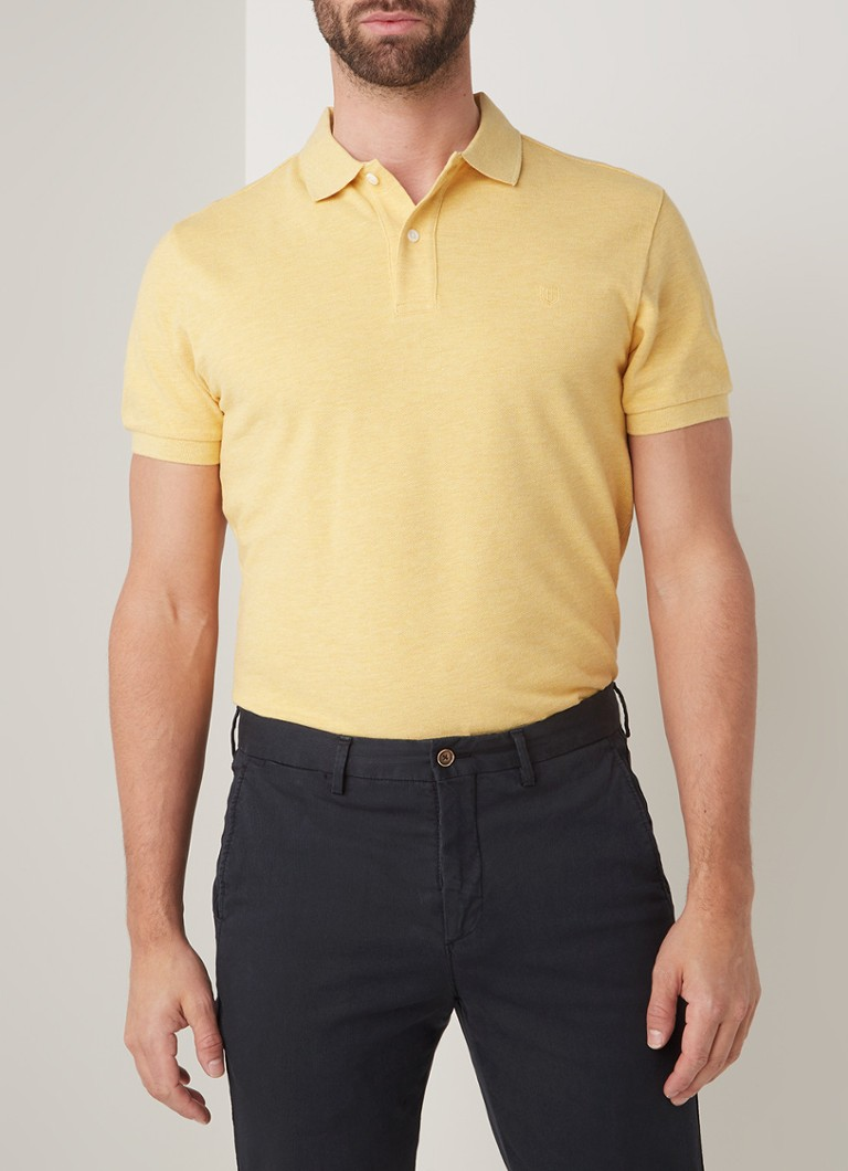 Profuomo - Regular fit polo in mêlée - Geel