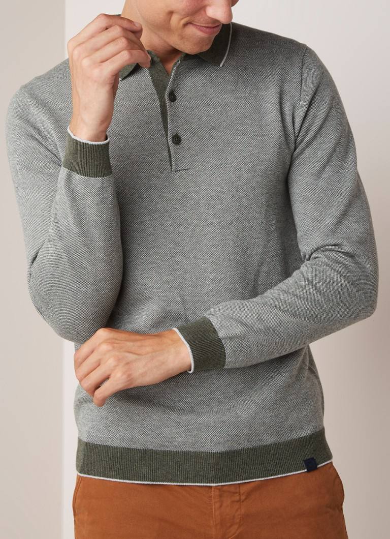 Profuomo - Regular fit polo in wolblend - Olijfgroen