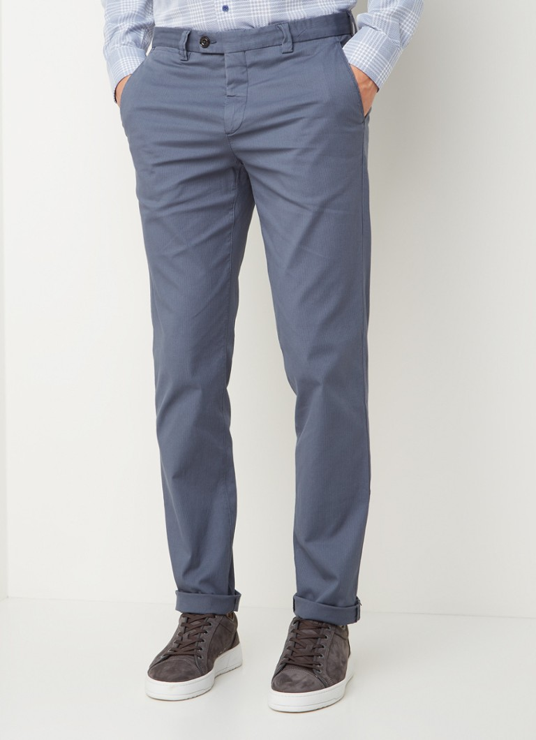 Profuomo - Slim fit chino met stretch - Lichtblauw