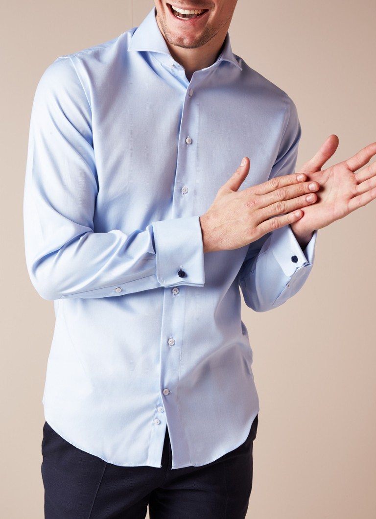 We Mannen Overhemd.Profuomo Slim Fit Strijkvrij Overhemd Met Dubbele Manchet De Bijenkorf