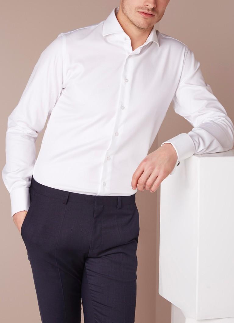 Heren Overhemd Met Manchetknopen.Profuomo Strijkvrij Slim Fit Overhemd Met Dubbele Manchet De Bijenkorf
