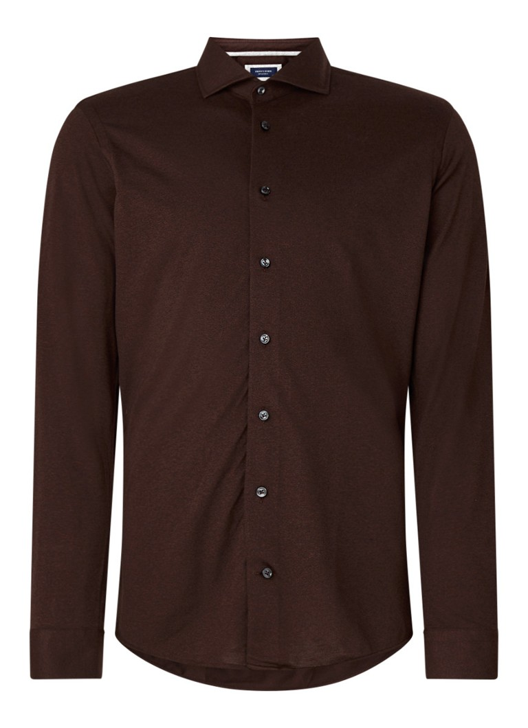 Profuomo - The Knitted Shirt slim fit overhemd met stretch - Bordeauxrood