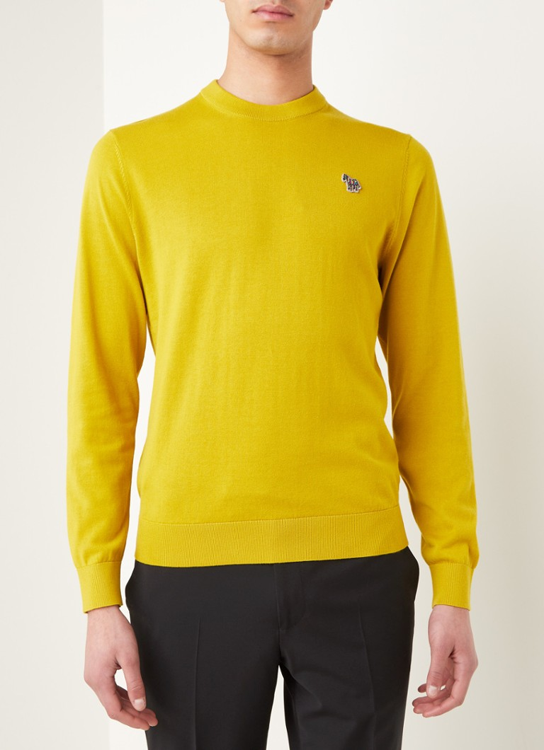 PS Paul Smith - Fijngebreide pullover met logo-applicatie - Okergeel
