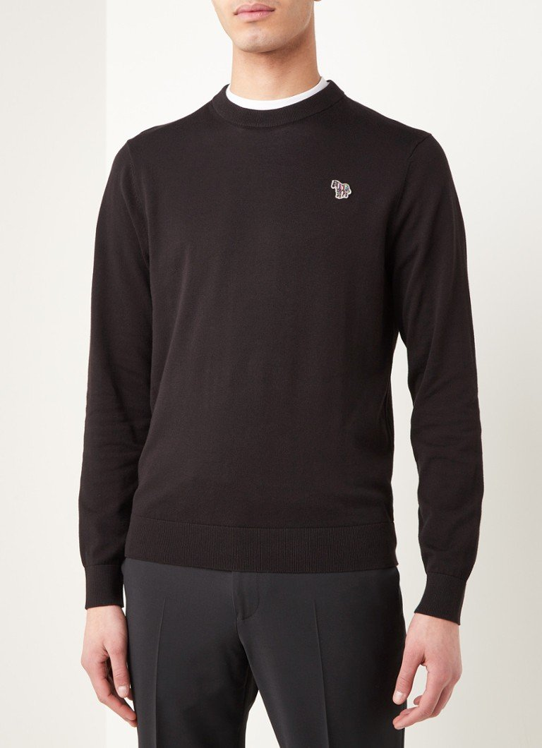 PS Paul Smith - Fijngebreide pullover met logo-applicatie - Zwart