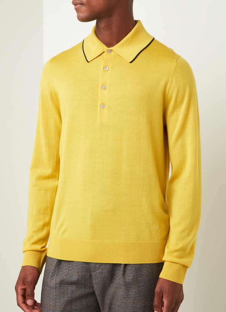 PS Paul Smith - Slim fit longsleeve polo van merino wol - Geel