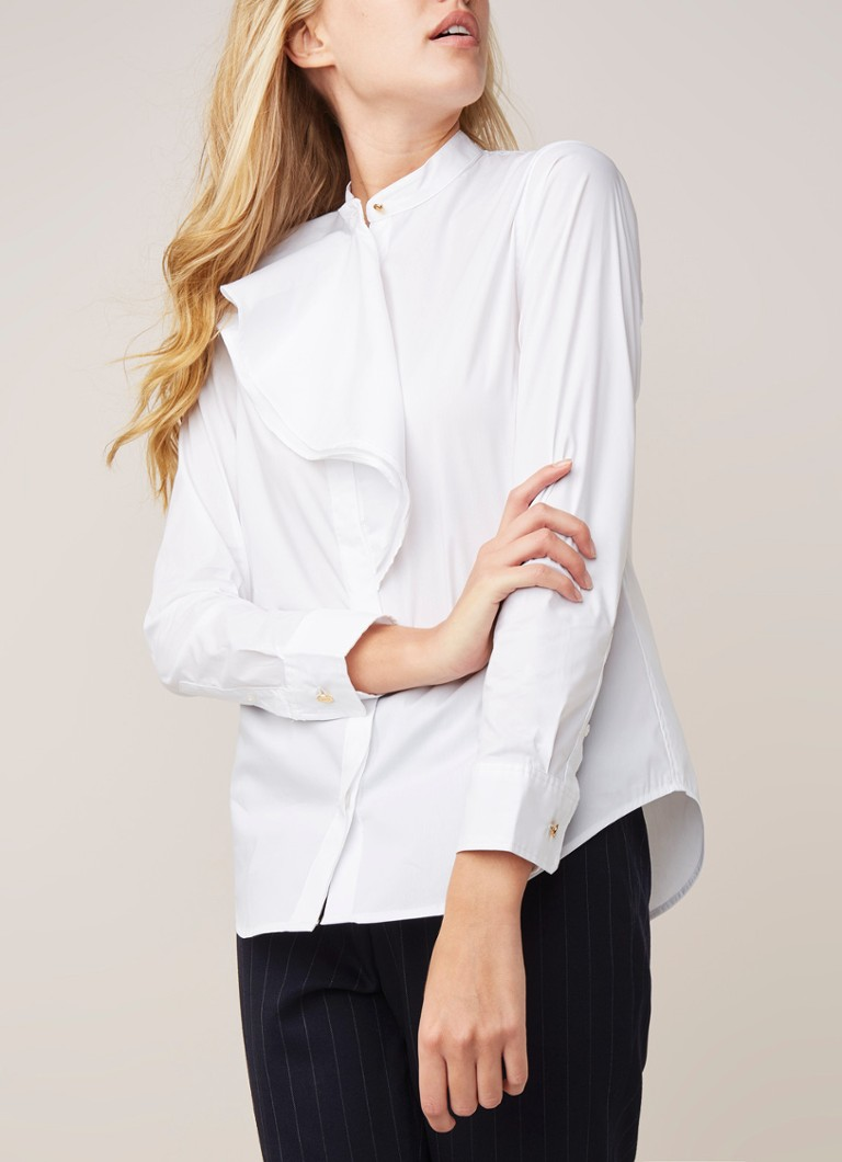 Ralph Lauren - Blouse in katoenblend met ruches  - Wit