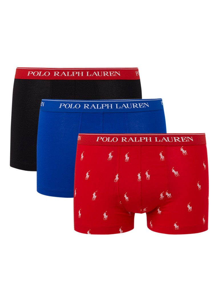 Ralph Lauren - Classic boxershorts met logoband in 3-pack - Rood