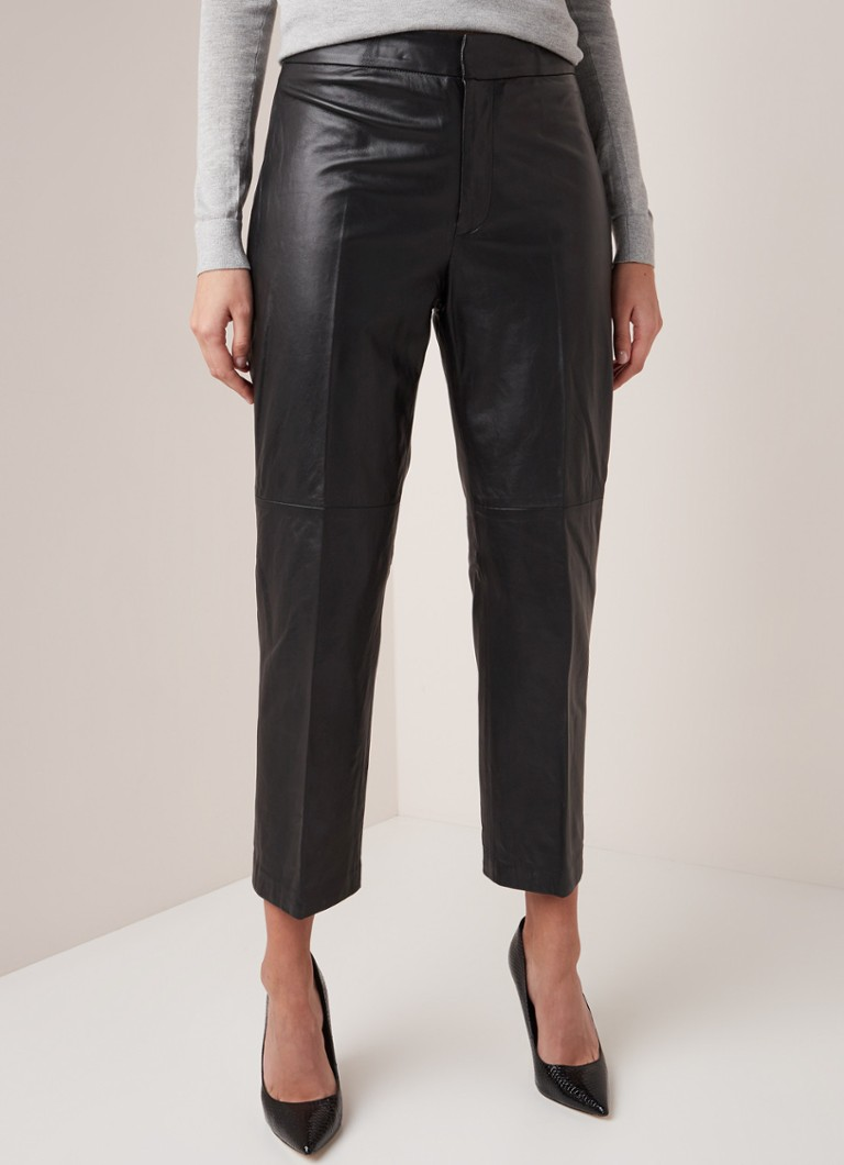 Ralph Lauren - High waist straigh fit pantalon van lamsleer - Zwart