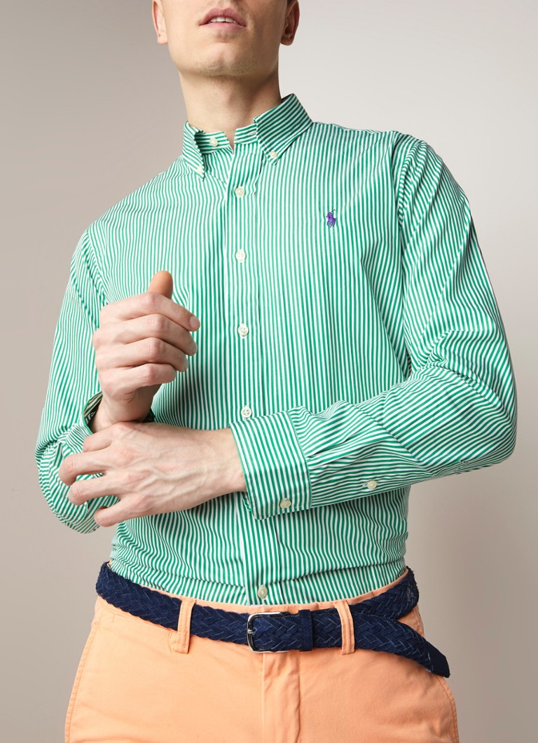 Ralph Lauren - Regular fit button down-overhemd met streepdessin - Groen