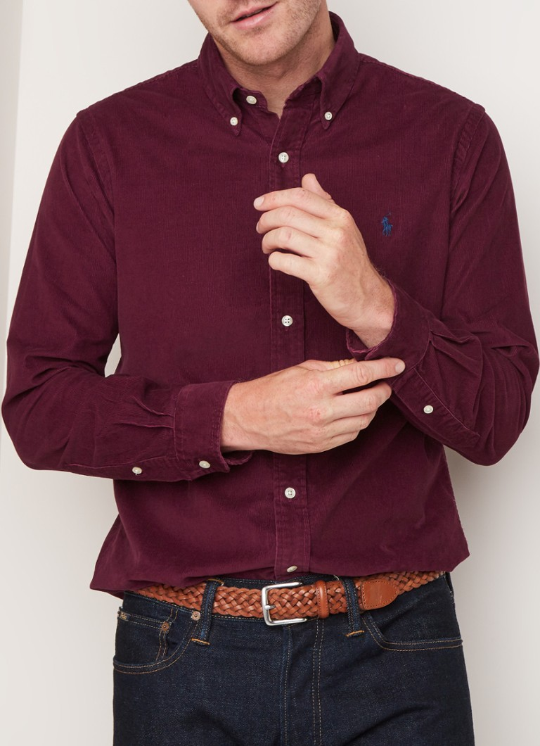 Ralph Lauren - Regular fit button down-overhemd van corduroy - Bordeauxrood