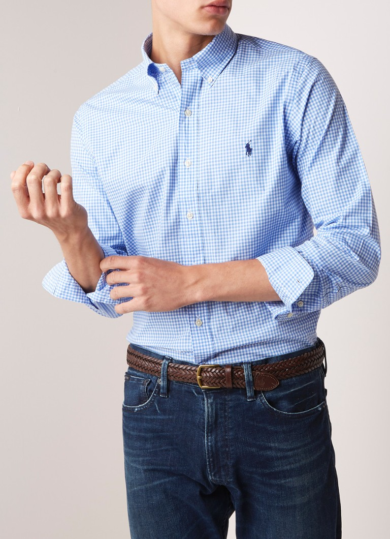 Ralph Lauren - Slim fit button down-overhemd met gingham dessin - Blauw
