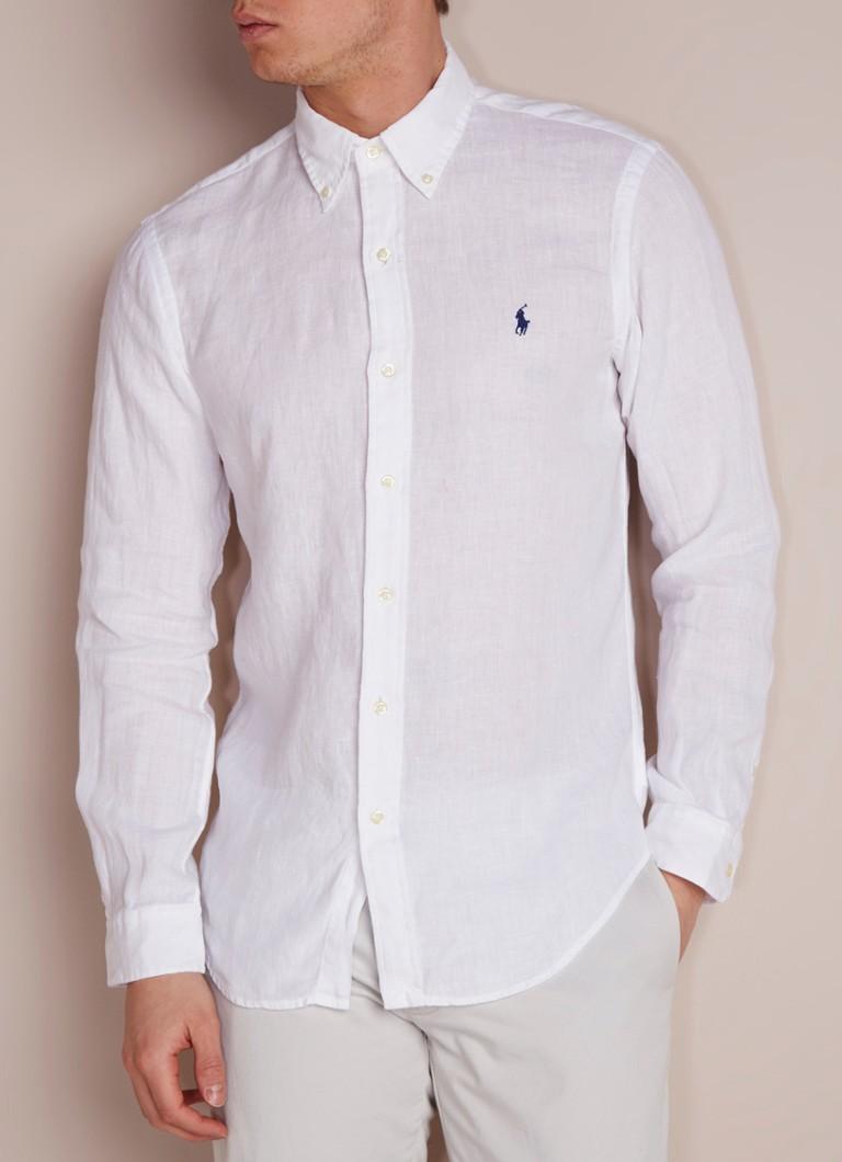 Linnen Overhemd Wit Heren.Ralph Lauren Slim Fit Button Down Overhemd Van Linnen De Bijenkorf