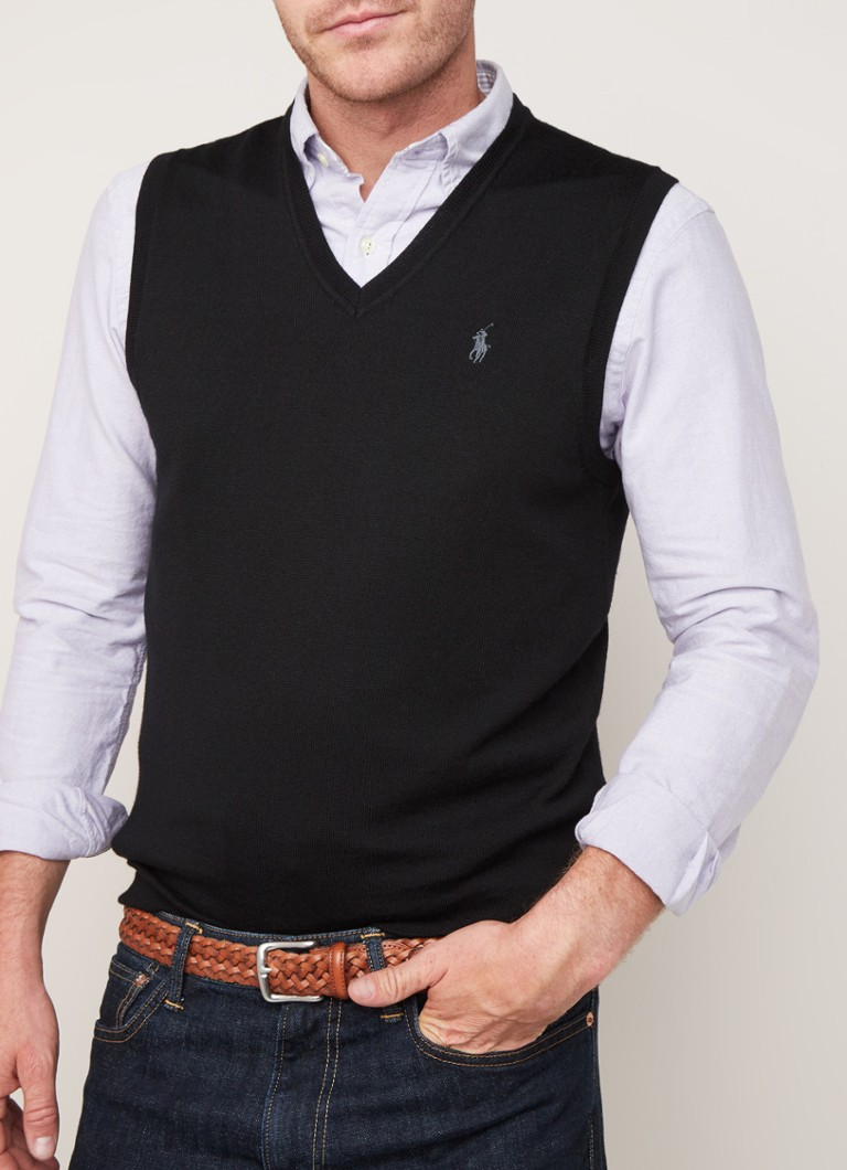Ralph Lauren - Slim fit spencer van merino wol - Zwart