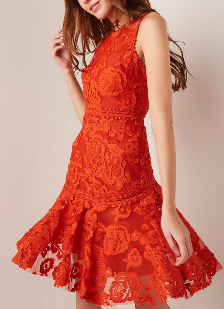 d606a72e0c32e0 Reiss Adia A-lijn jurk van gebloemd guipure kant • de Bijenkorf