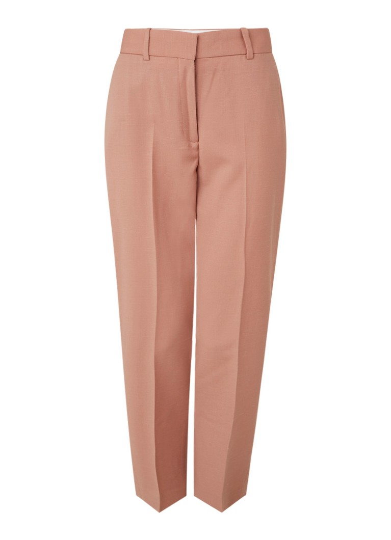 Reiss - Anya high waist sllim fit cropped pantalon in wolblend - Oudroze