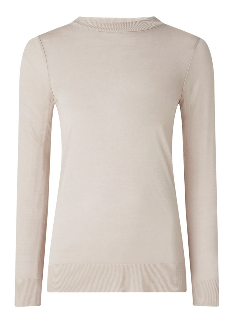 Reiss - Aurellie semi-transparante top met splitten - Lichtbruin