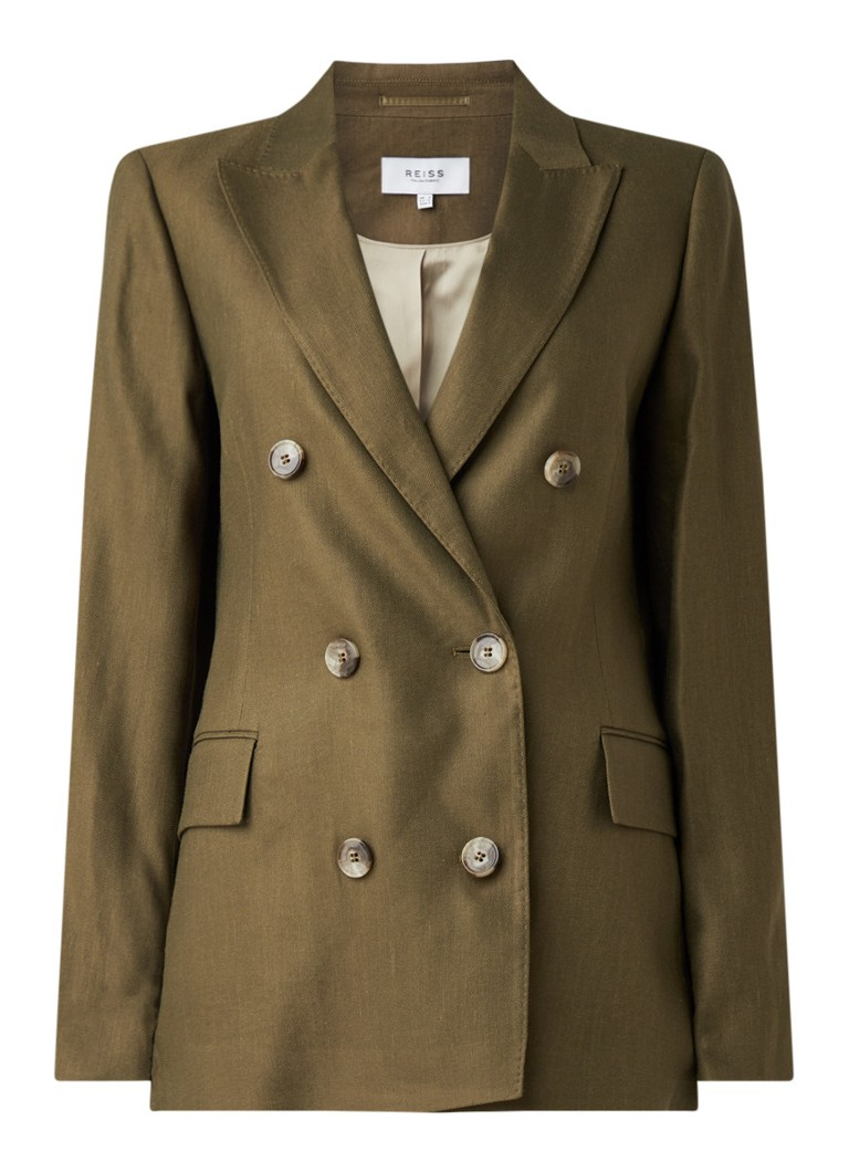 Reiss - Brea regular fit blazer in linnenblend - Khaki