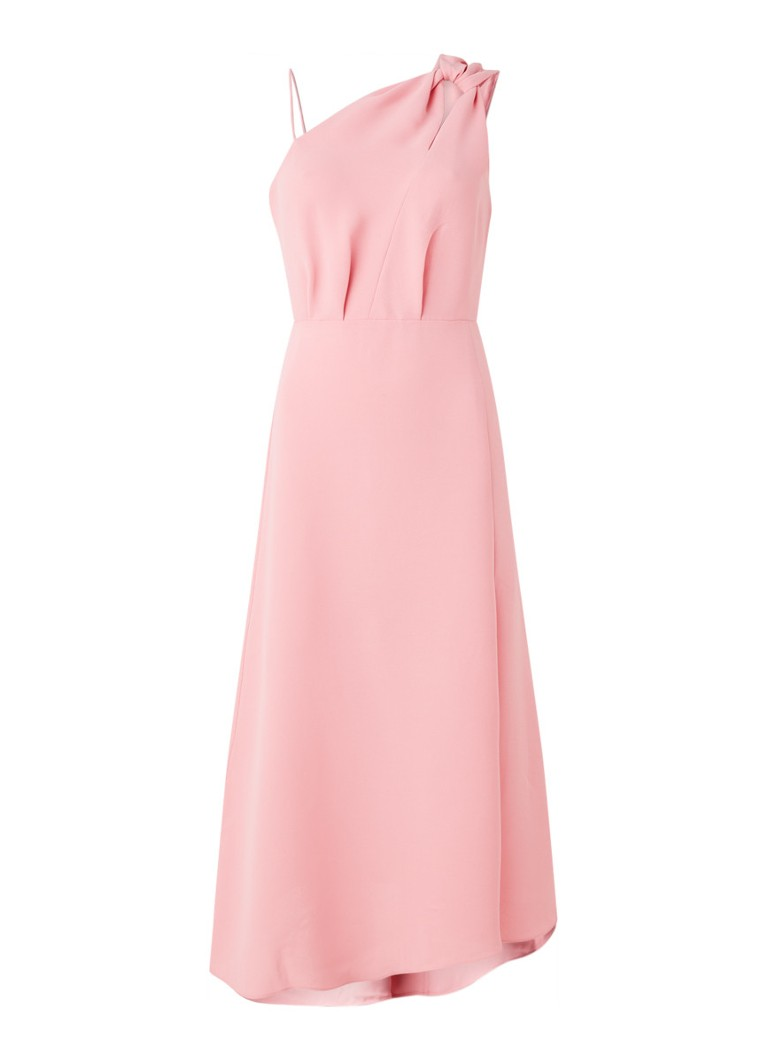 Reiss - Delilah midi jurk met cold shoulder - Roze