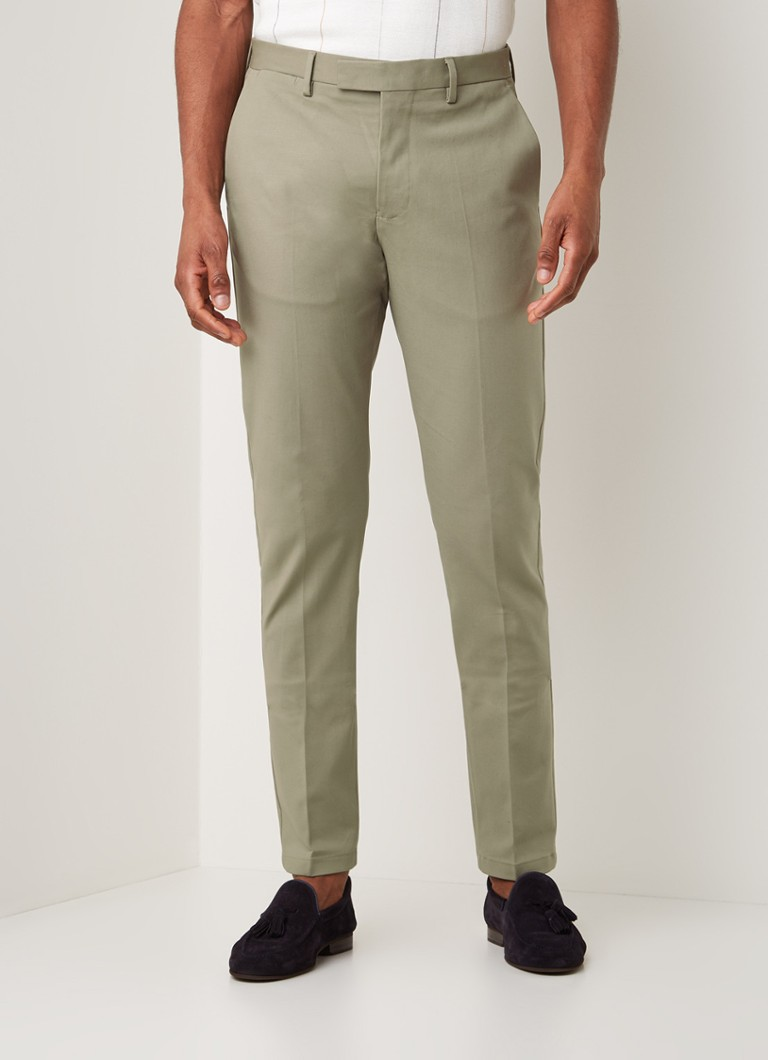 Reiss - Eastbury slim fit chino met persplooi - Lindegroen