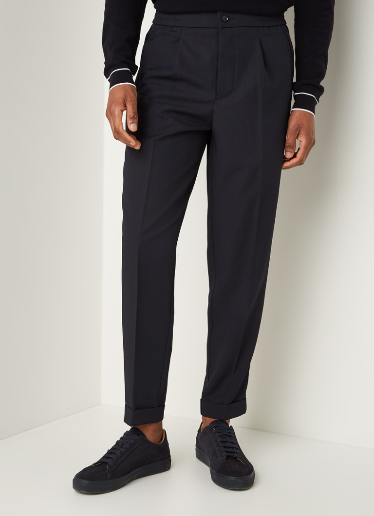 Reiss - Japane relaxed slim fit pantalon met drawstrings - Donkerblauw