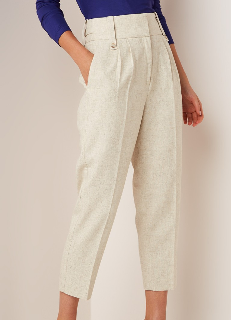 Reiss - Lauren high waist loose fit pantalon met plooidetail - Beige