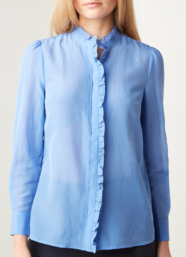 Reiss - Liddy semi-transparante blouse in zijdeblend met ruches - Lavendel