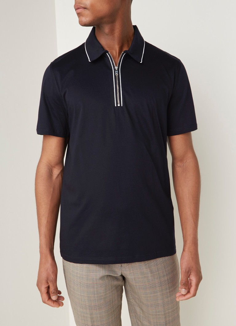 Reiss - Nathan regular fit polo met halve rits - Donkerblauw