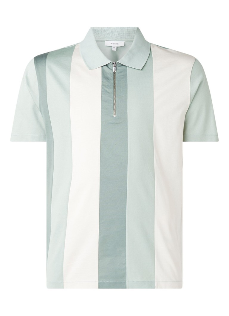 Reiss - Owen regular fit polo met halve rits  - Lichtgroen