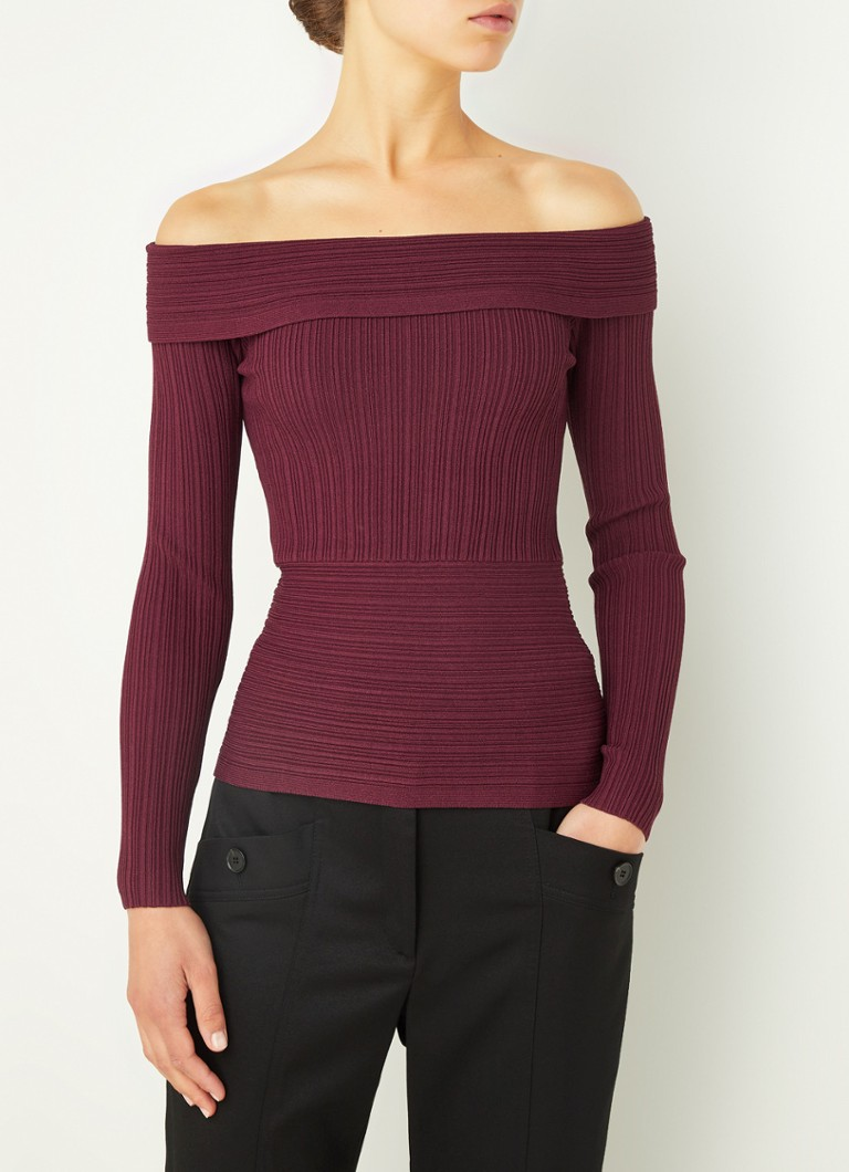 Reiss - Tate off-shoulder top met ribstructuur - Bordeaux