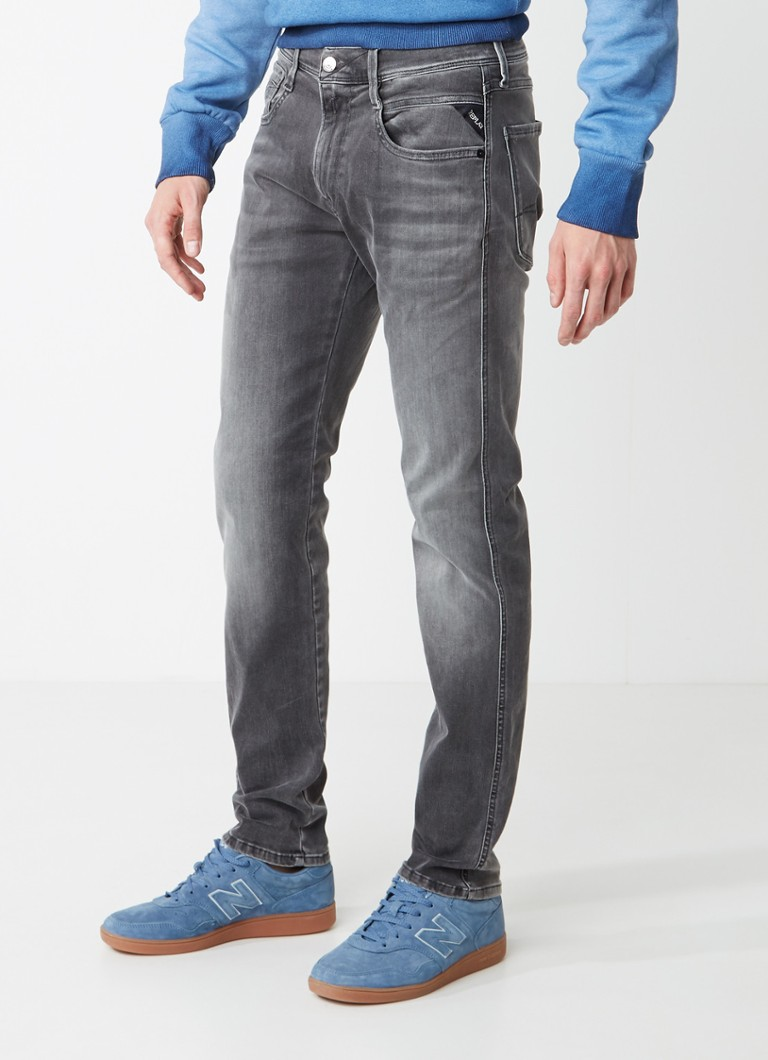 Replay - Anbass Hyperflex slim fit jeans met faded look - Grijs