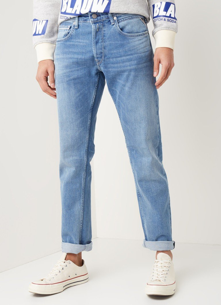 Replay - Grover slim fit jeans met faded look - Indigo
