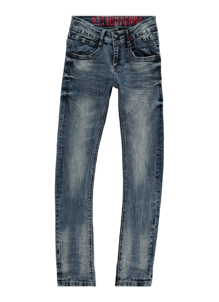 Retour Jeans - Robby skinny fit jeans met faded look - Indigo