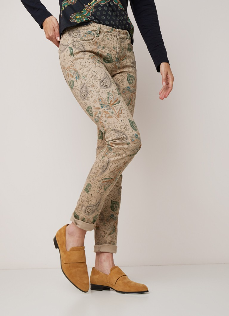 River Woods - 5 Pocket skinny fit broek met paisley dessin - Beige