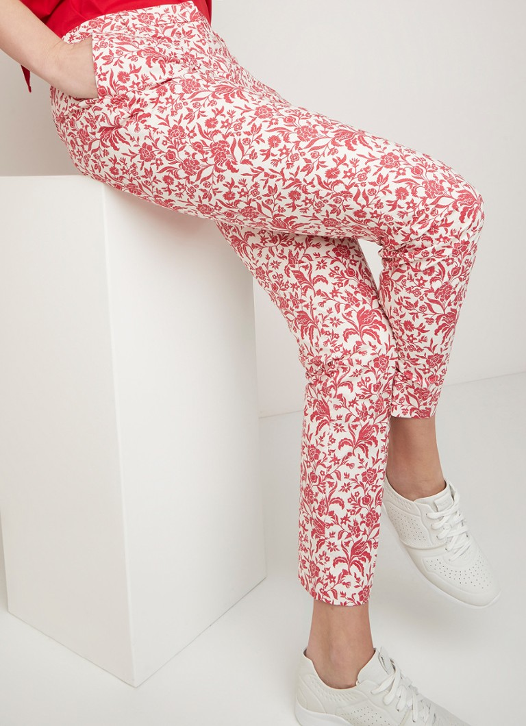 River Woods - Mid waist slim fit pantalon met bloemenprint - Rood