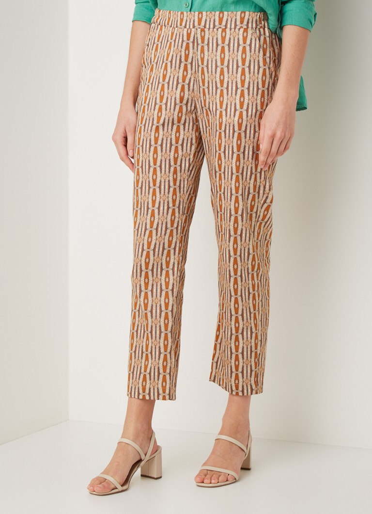 River Woods - Mid waist straight fit cropped broek met all over print - Camel
