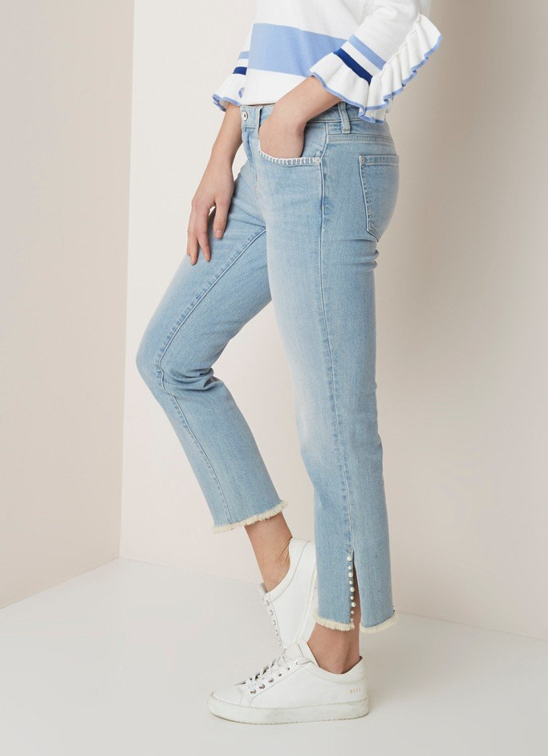River Woods - River Woods Mid waist straight fit cropped jeans met parel applicatie - Indigo