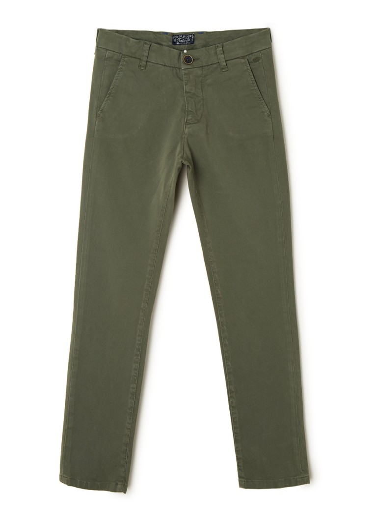 River Woods - Slim fit chino met stretch - Donkergroen